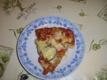 Hackfleisch-Pizza Mediteran - Rezept