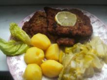Kalbschnitzel  Porreegemüse Salzkartoffeln und grünen Salat - Rezept