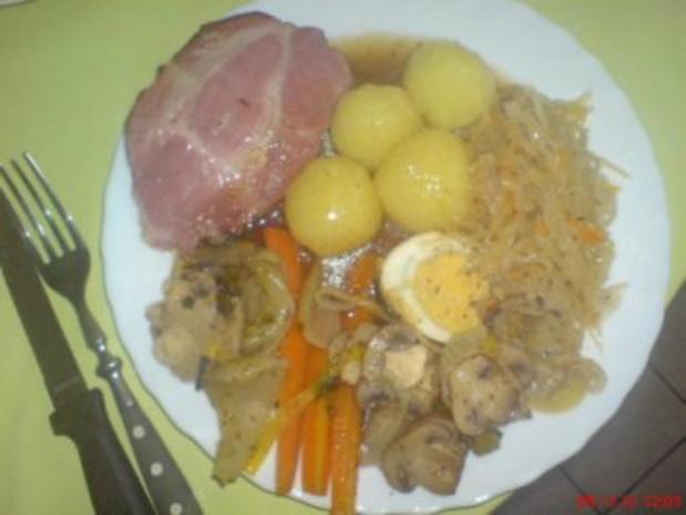 Kasslerbraten aus dem Bratenschlauch mit Kartoffelklößen - Rezept