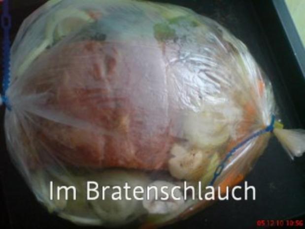 Kasslerbraten aus dem Bratenschlauch mit Kartoffelklößen - Rezept - Bild Nr. 3