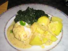 Eier in Senfsoße an Blattspinat mit Salzkartoffeln - Rezept