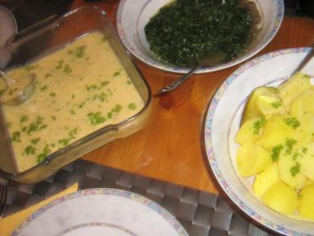 Eier in Senfsoße an Blattspinat mit Salzkartoffeln - Rezept - Bild Nr. 3