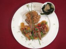 Miso-Ente auf Wildreis, dazu Wakame-Salat und Gemüse - Rezept