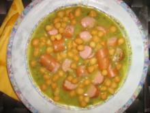 Grüne Kartoffelsuppe mit Geflügelwienerle und Backerbsen - Rezept