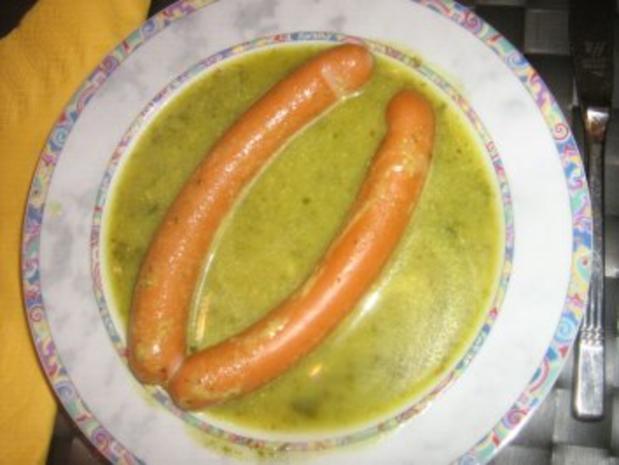 Grüne Kartoffelsuppe mit Geflügelwienerle und Backerbsen - Rezept - Bild Nr. 3