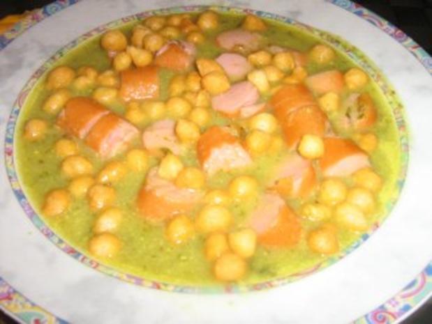 Grüne Kartoffelsuppe mit Geflügelwienerle und Backerbsen - Rezept - Bild Nr. 4