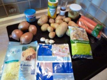 Sauerkrautauflauf mit Kartoffeln und Karotten - Rezept