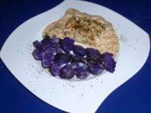 Seelachsrückenfilet mit einer Zwiebel-Sahne-Senfsoße und Trüffelkartoffeln - Rezept