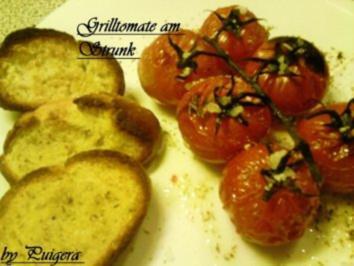 Grilltomate an Chilly-Öl und Rosmarinbaguette - Rezept