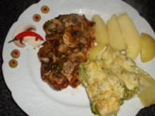 Nackenkotelett mit Champignons & Lauchzwiebeln.... - Rezept