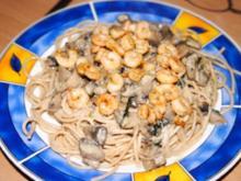 Spagetti mit Pilzsoße und Garnelen - Rezept