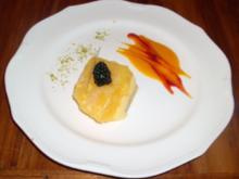 Kokostörtchen mit Mangoragout und Grüntee-Krokant - Rezept