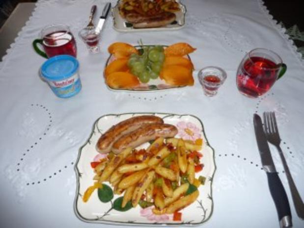 Fixe Küche : Gemüseschupfnudeln mit Bratwurst und Nachtisch - Rezept - Bild Nr. 2