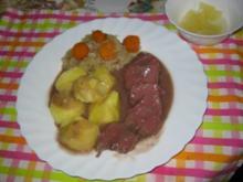 Schweinezunge gepökelt auf Rotweinsoße - Rezept