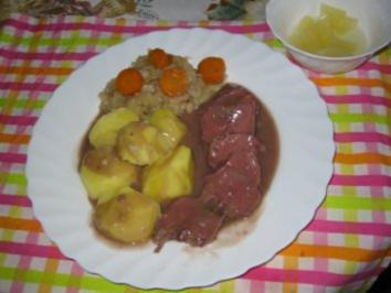 Rezept: Schweinezunge gepökelt auf Rotweinsoße