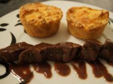 Lammfilet mit Kartoffelsoufflé und Rotweinjus - Rezept