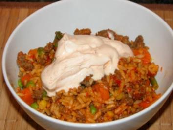 Balkangemüse mit Reis und Hackfleisch - Rezept