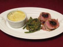 Gefülltes Schweinefilet mit Prinzessbohnen und Kartoffelgratin - Rezept