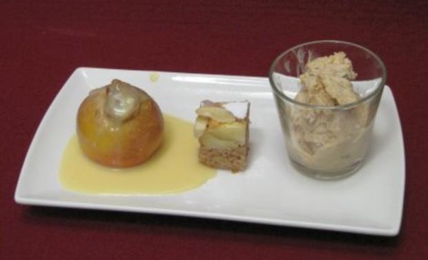 Baby-Bratapfel mit Vanillesoße, Apfelkuchen-Praline und Lebkuchen-Eis - Rezept