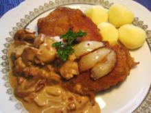 Schnitzel mit Rahm-Champignons - Rezept