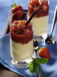 Vanille-Flammeri mit karamellisiertem Erdbeer-Rhabarber-Kompott - Rezept