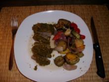 Kräuter-Lammlachse mit mediterranem Ofengemüse - Rezept