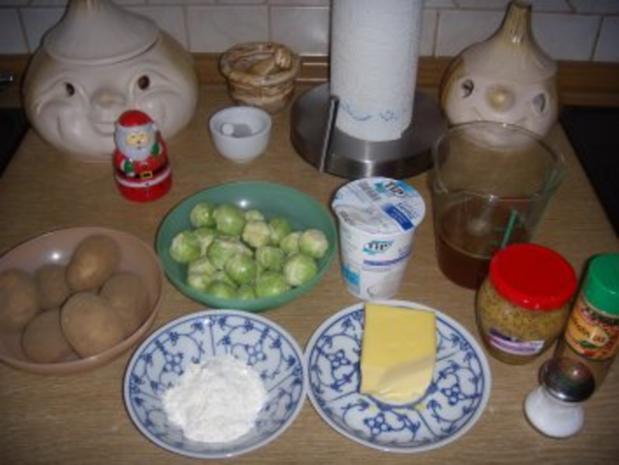Loup de mer mit Kartoffel-Rosenkohl-Gratin - Rezept - Bild Nr. 2