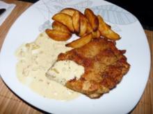 Putenschnitzel mit Senf-Sahne Soße und Kartoffelecken - Rezept