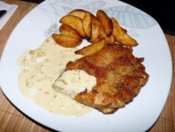 Rezept: Putenschnitzel mit Senf-Sahne Soße und Kartoffelecken