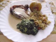 Kalbskotelett in Bavaria-blue-Sauce ~  Bavarian-blue-Spinat ~ Sekt-Graupen-Risotto ~ pochi - Rezept