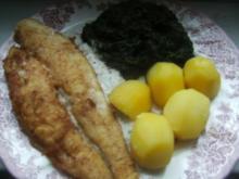 (Fisch)  Pangasiusfilet mit Spinat  Salzkartoffeln und einer - Rezept