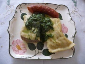 Hauptgericht : Maultaschen mit Spinat und Paprikawurst - Rezept