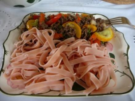 Hackfleisch : Hack - Gemüsepfanne mit Chilinudeln - Rezept