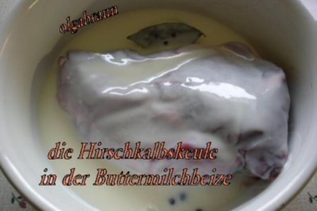 Rotwildkeule mit Hagebutten-Pflaumensauce - Rezept - Bild Nr. 3