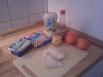 Hühnchen-Erdnuss-Salat mit Kaki-Frucht - Rezept