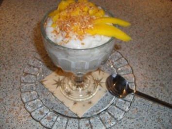 Exotisches Kokos-Reis-Dessert mit Mango - Rezept