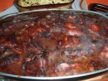 Kaninchen in Rotwein mit Karotten + Erbsen Gemüse - Rezept