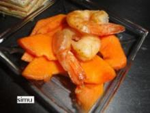 Papaya-Carpaccio mit Garnelen - Rezept