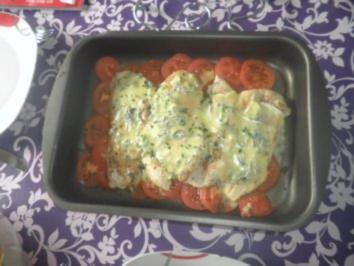 Käse-Schnitzel auf Tomaten - Rezept