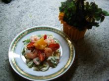 Chicoree- Feldsalat mit Garnelen - Rezept
