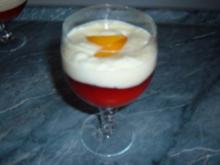 Dessert.......Götterspeise mit Vanillepudding - Rezept