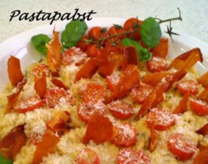 Kräuter Risotto mit Ofentomaten und Prosciutto - Rezept