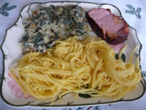 Hauptgericht : Mangold, Leberkäse und Nudeln - Rezept