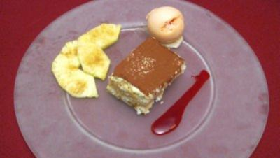 Caipirinha-Tiramisu an Blutorangen-Sorbet und karamellisierter Ananas - Rezept