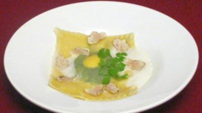Getrüffelte Ravioli mit Spinat und Eigelb - Rezept