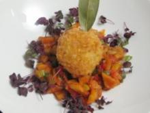 Risottobällchen auf süß-saurem Auberginengemüse - Rezept
