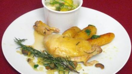 Maispoulardenkeule mit gebratenen Marsalakartoffeln und Orangen-Fenchel-Salat - Rezept