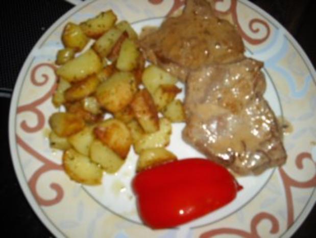 Minutensteak's mit Zwiebel-Sahne Soße & Röstkartoffeln - Rezept - Bild Nr. 6