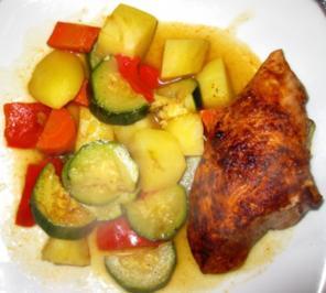 Ofen-Hähnchenbrust auf Gemüsebett - Rezept