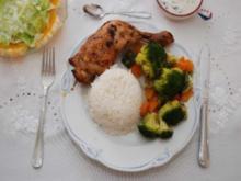Geflügel : Gebratene Hähnchenschenkel mit gedünstetem Gemüse und Reis - Rezept